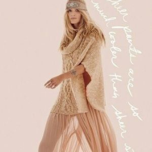 Free people tan cable knit poncho sweater